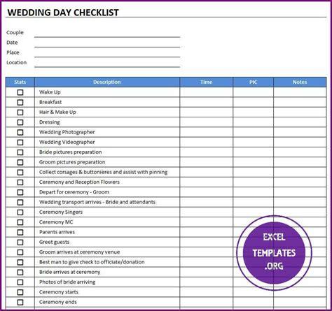 Wedding Checklist Template Excel by Wedding Day Checklist Template Excel Templates Excel