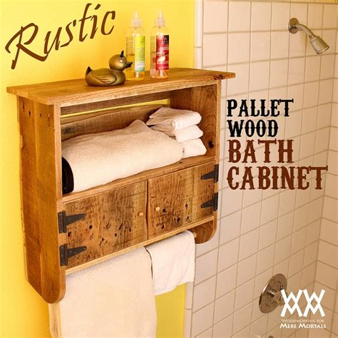 rustic pallet wood bath cabinet woodworking