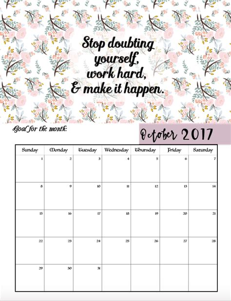 printable calendar quotes free printable 2017 motivational monthly calendar