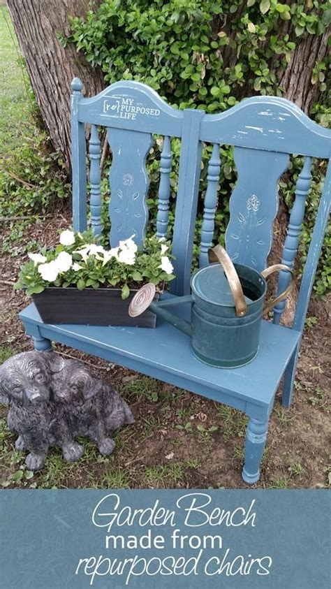 used garden bench make a cute garden bench out of some old chairs easy