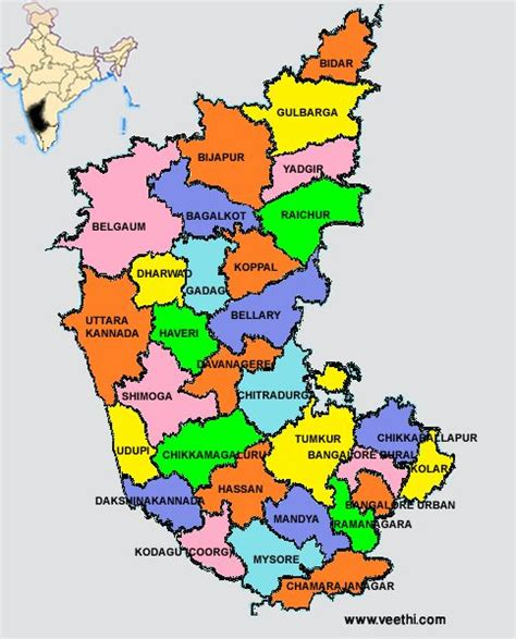 Karnataka District Map Outline by Karnataka Districts Map Indian States Places Maps And Us States