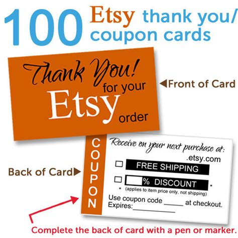 card etsy etsy shop thank you card etsy coupon card 100 high quality