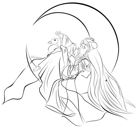 Lines Goddess And Moon Bunny By Sarky Sparky On Deviantart Sparky The Coloring Pages