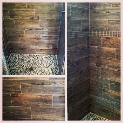 Ceramic Faux Wood Tile In Shower Shower Bathroom Remodel Wood Look Tile Bathroom