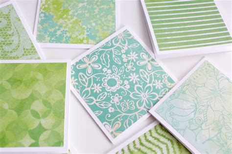 Handmade Envelope Pattern - green pattern mini cards with envelope handmade note cards