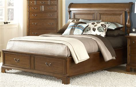 nantucket king sleigh bed with storage footboard 1900 66sles american woodcrafters
