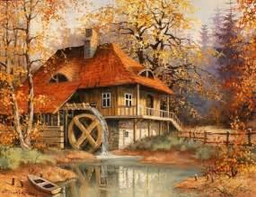 Autumn mill wallpaper forwallpaper com