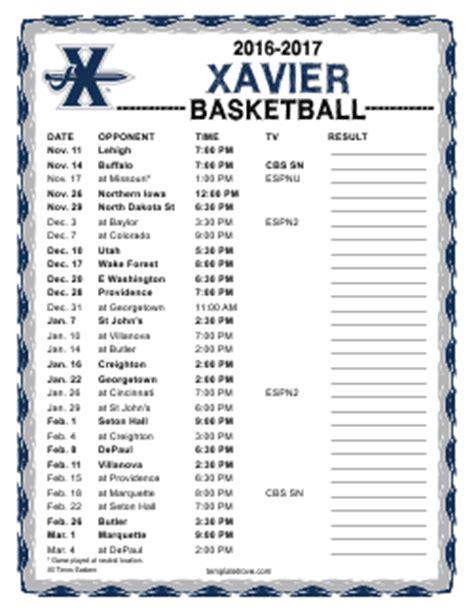 printable xavier basketball schedule printable 2016 2017 xavier musketeers basketball schedule