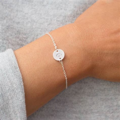 personalised initial disc bracelet by bloom boutique   notonthehighstreet.com