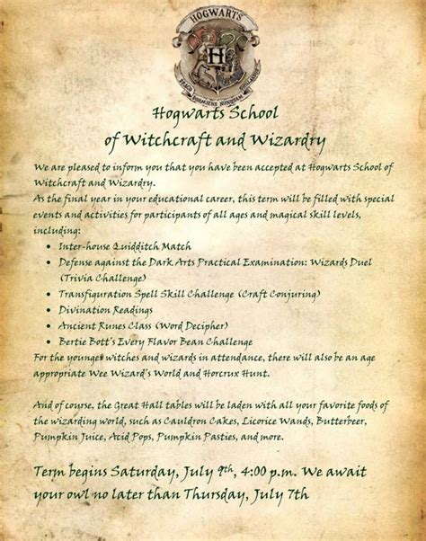 Harry Potter Acceptance Letter Wording Harry Potter Birthday Invitations Wblqual