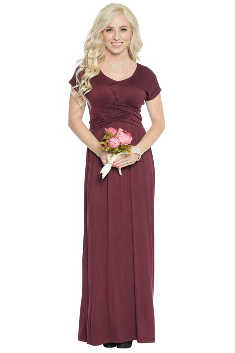 Modest Maxi Dresses by Quot Athena Quot Modest Maxi Dress W Ruched Empire Waist In Burgundy