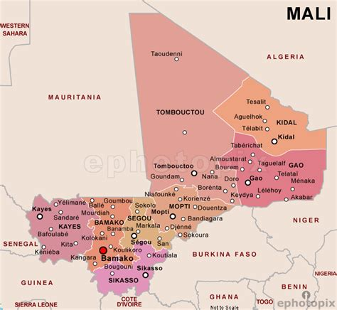 map of mali mali politische karte