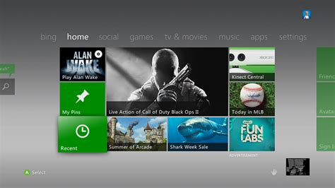 using the recent tile on xbox home xbox 360 console