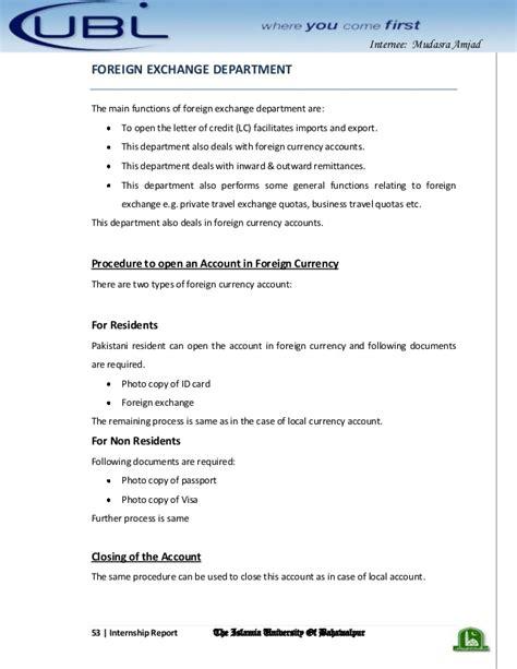 ubl bank statement u b l bank internship report