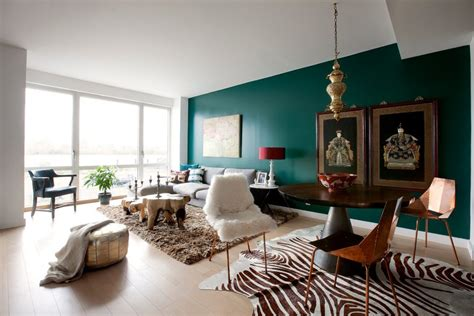 Teal Accent Wall teal accent wall living room contemporary with white table