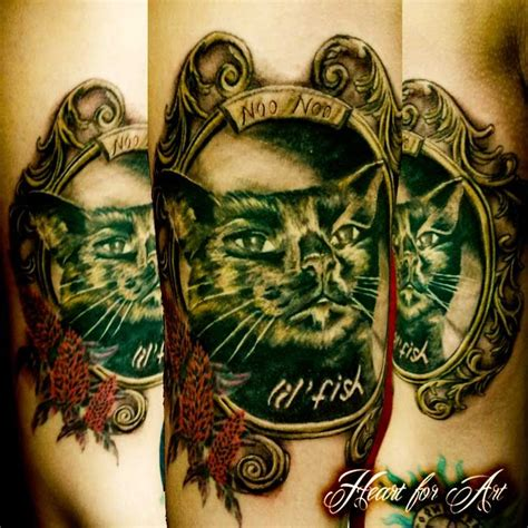cat portrait in ornate frame tattoo my style pinterest