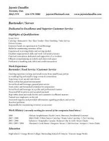 resume template for bartender no experience resume cover letter exle