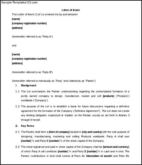 Letter Of Intent For Template Doc 12751650 Letter Of Intent Business Partnership Business Invoice Template Bizdoska