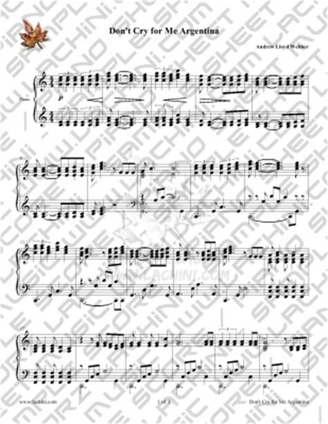 testo don t cry dont cry for me argentina piano sheet