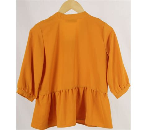 Atasan Blouse Orange Pocket cotton ink orange blouse