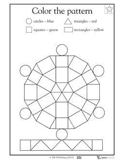 color pattern worksheets for kindergarten color the pattern kindergarten math skills worksheet free skills learning geometric shapes