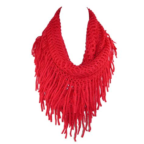 knit fringe womens fringed knit infinity loop scarf by ctm