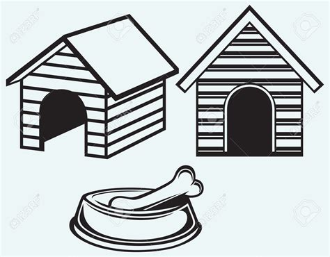 white dog house dog house clipart black and white