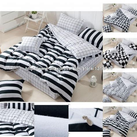 Luxury Black And White Bedding Sets New Luxury Brand Black And White Bedding Plaid And Stripes Bedding Set Bedclothes Duvet Covers