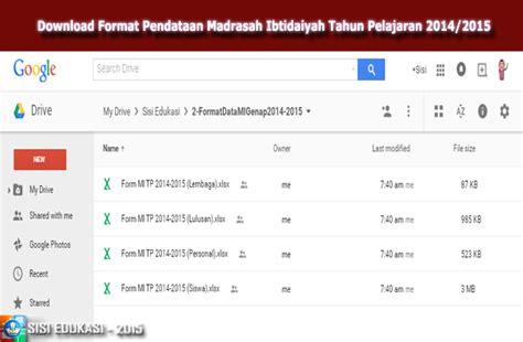 Form Administrasi Perangkat Kepala Sekolah Sma format pendataan madrasah ibtidaiyah tahun pelajaran 2014 2015