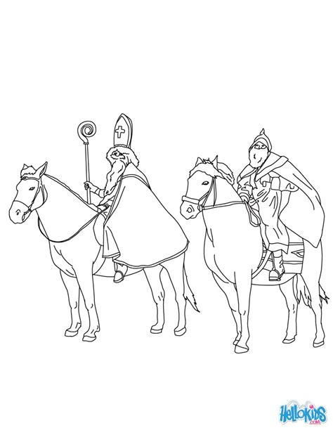 coloring pages for christmas in germany st nicholas and mr bogeyman riding coloring pages