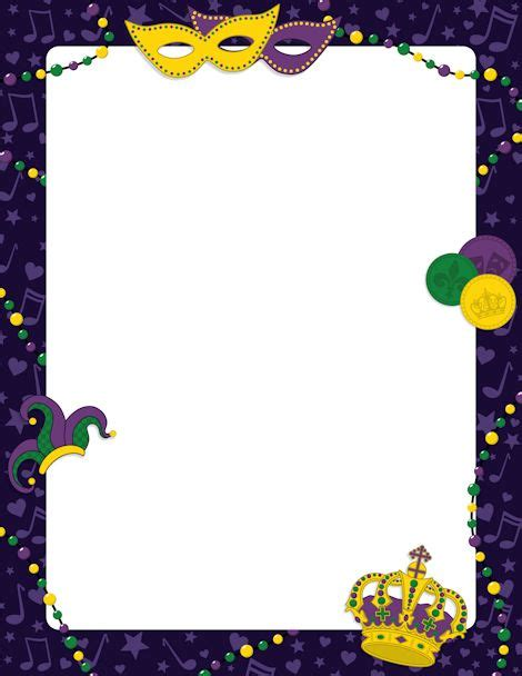 Printable Mardi Gras Border Free Gif Jpg Pdf And Png Downloads At Http Pageborders Org Mardi Gras Powerpoint Template Free