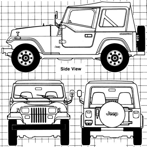 jeep drawing easy car blueprints 1987 jeep wrangler suv blueprint
