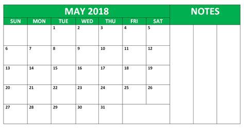 Calendar 2018 Notes May 2018 Calendars With Notes Calendarbuzz