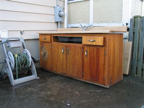 workbench out of kitchen cabinets garage workbench
