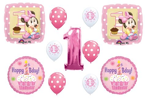 St Three Mickey Polka 1 minnie mouse 1st happy birthday cupcake balloons