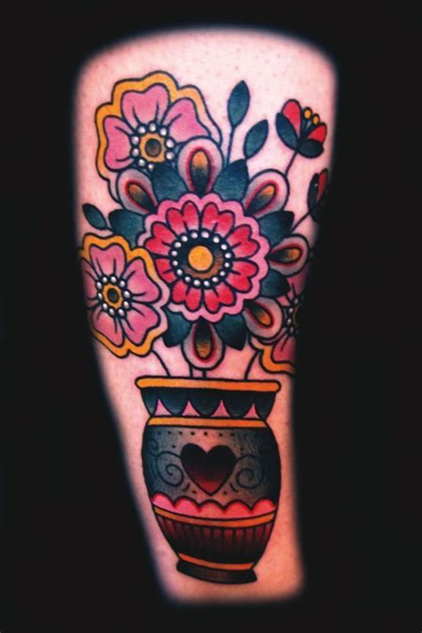 ashley love tattoo artist vase with flowers ink lines
