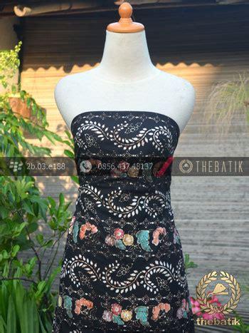 Dress Batik Cap Wonogiren Lucia jual bahan batik remukan coletan floral ukel hitam