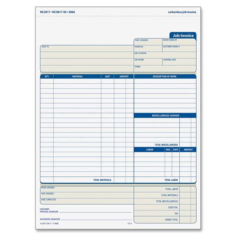 tops three part carbonless job invoice forms ld products