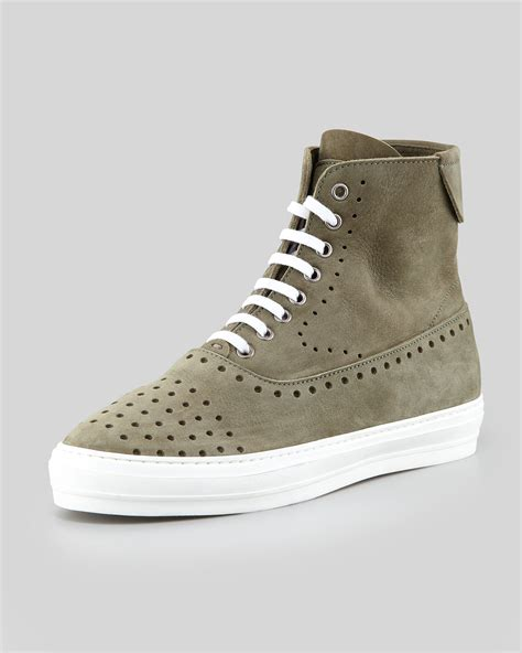 mcqueen mens sneakers lyst mcqueen mens perforated suede hi top