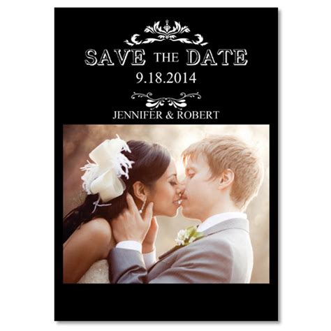 wedding save the date cards cheap black and white save the date with photo