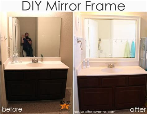 how to put a frame around a bathroom mirror new bathroom counters and a question