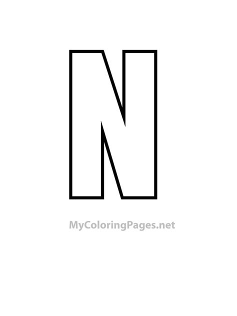 Letter N free coloring pages of capital letter n