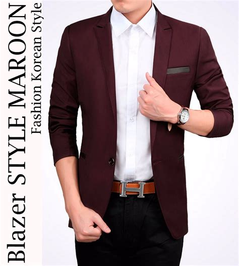 Blazer Untuk Pria jual blazer style maroon jas pria cowok slimfit bodyfit