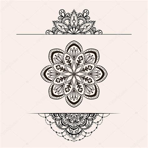 vector henna ethnic mandala set boho femine lace tattoo