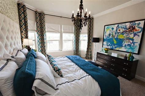 blue black and white bedroom moorish tile curtains contemporary bedroom studio ten 25