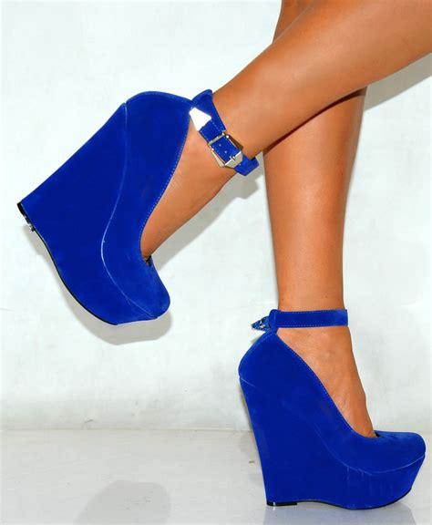 cobalt navy royal bright blue suede bow peep toe