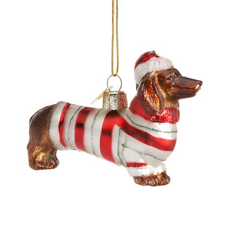 dachshund with holiday sweater christmas ornament gump s