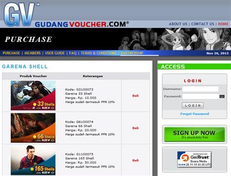Voucher Garena Rp 10 000 33 Shell daftar penyedia dan harga voucher garena indonesia