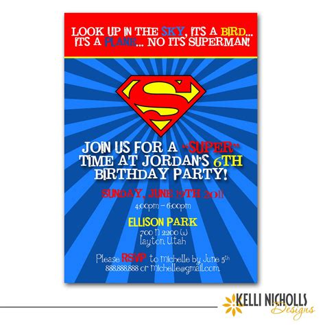 superman birthday card template superman birthday invitation custom for allison schall