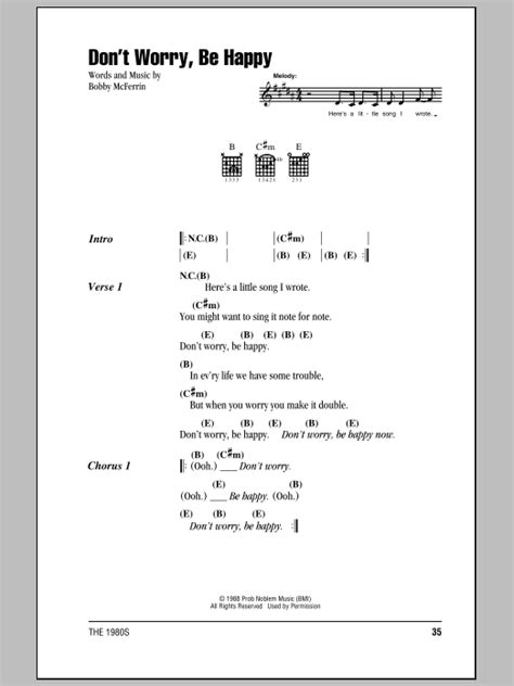 tutorial chord guitar don t worry don t worry be happy sheet music direct